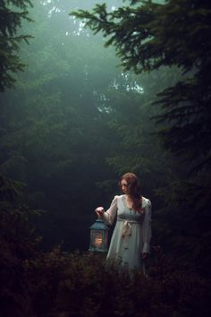 ~girl-with-lantern, woodland photograph by an unknown artist - unknown model