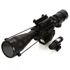 Tactical 4 - 12 x 50EG Illuminated Rifle Scope with Red Laser and Red Dot Sight of Red / Green Reticle Mount #women, #men, #hats, #watches, #belts