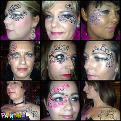 Moulin rouge face and body painting for hen party by Fays Painting