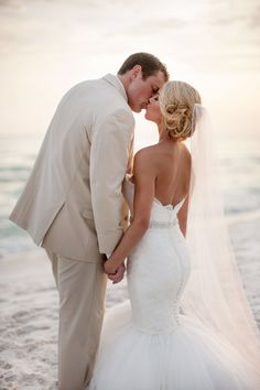 Beach wedding photos, beach wedding photography, sunset wedding, we Beach Wedding Attire, Beach Wedding Photos, Beach Wedding Photography, Sunset Wedding, Wedding Poses, Wedding Dresses, Wedding Pictures, Wedding Ideas, Wedding Hair