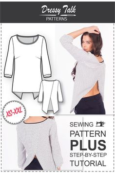 Top Patterns - Cross Back Top Pattern - Blouse Patterns - Sewing Tutorials - Blouse Sewing Patterns - Womens Sewing Patterns - Sew Easy Top Patterns Cross Back Top Pattern Blouse by DressyTalkPatterns Tunic Sewing Patterns, Sewing Blouses, Sewing Patterns For Kids, Blouse Patterns, Clothing Patterns, Diy Kleidung, Textiles, Top Pattern, Sewing Tutorials