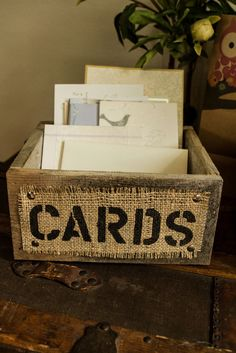 Burlap and Reclaimed Wood CARDS Box for Rustic Country Wedding Hand Painted and stenciled. $37.00, via Etsy.