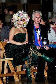 Lady Gaga wearing an Alexander McQueen PreAW12 green embossed velvet bustier dress