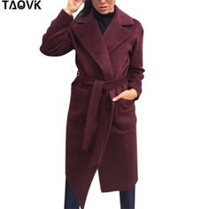 Cheap belted coat, Buy Quality coats coats directly from China long belted coat Suppliers: TAOVK Women woolen Long sleeve Medium-long notched collar open front parka belt Coat Coats For Women, Jackets For Women, Clothes For Women, Women's Jackets, Down Puffer Coat, Parka Coat, Long Winter Coats, Types Of Jackets, Belted Coat