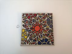 hand painted ceramic wall decor Geometric Tiles, It's Always Sunny, Hand Painted Ceramics, Wall Tiles, Wall Decor, Frame, Projects, Handmade, Painting