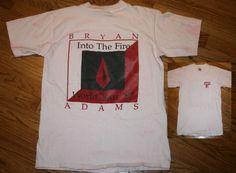 Vintage Bryan Adams Into The Fire 1987 World Tour concert T-Shirt Large/Medium #Oneita #GraphicTee