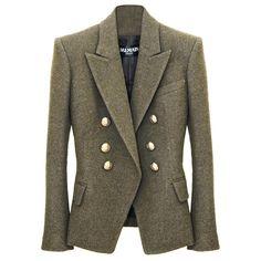 Balmain Liquorice Wool Blazer (€2.350) ❤ liked on Polyvore featuring outerwear, jackets, blazers, coats, tops, women, double breasted jacket, brown wool blazer, balmain blazer and brown wool jacket