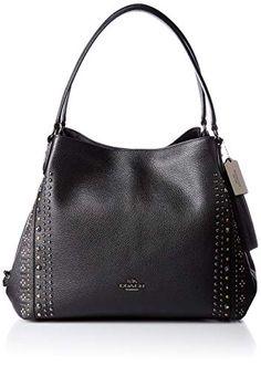 f72e4fe3cd5 COACH Bandana Rivets Edie Shoulder Bag 31 in Black Pebble Leather 55544  Review
