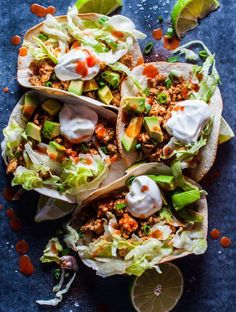 Buffalo chicken tacos - your favorite hot wing sauce is here to kick your tacos up a notch! These tacos only take 25 minutes and are a real crowd pleaser. Buffalo sauce is stupidly easy Ground Chicken Tacos, Buffalo Chicken Tacos, Bbq Chicken, Chicken Taco Recipes, Mexican Food Recipes, Dinner Recipes, Healthy Recipes, Ethnic Recipes, Weeknight Recipes