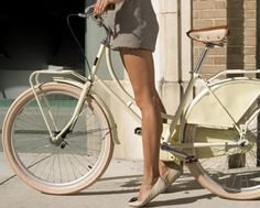 love photography pretty girl fashion dress shorts vintage class Legs lovely skirt europe elegant classy look flats ride neutral bike bicycle seat sidewalk vintage bicycle old bike separate with comma vintage bike sykkel tippy toe Velo Vintage, Vintage Bikes, Vintage Paris, Training Fitness, Cardio Training, Smooth Legs, Silky Legs, Cycle Chic, Bike Style