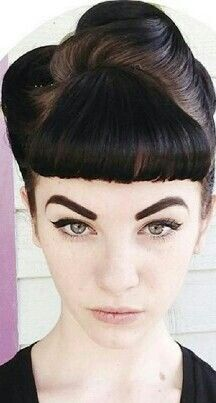 Vintage Hairstyles With Bangs Bettie bangs updo - Ariel hairstyle boho hairstyles headwrap,beautiful hairstyles for black hair short asymmetrical hairstyles for thick hair,cute braided bun hairstyles soft shag haircut. Long Hair With Bangs, Short Hair With Bangs, Short Hair Styles, Thick Hair, Vintage Short Hair, Vintage Wedding Hair, Retro Hairstyles, Hairstyles With Bangs, Wedding Hairstyles