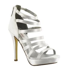 cb75a063a64 Dyeable White Silver Gold Strappy High Heel Prom Wedding Platform Sandal  Shoe  Dyeables  PlatformsWedges