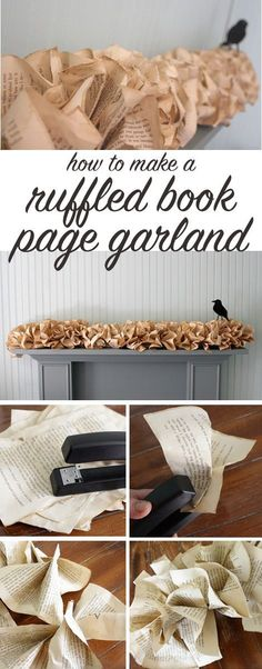 to make a book page garland Beautiful DIY book page garland - perfect for weddings & holiday decorating.Beautiful DIY book page garland - perfect for weddings & holiday decorating. Old Book Crafts, Book Page Crafts, Book Page Art, Old Book Pages, Book Art, Diy Wedding Garland, Book Page Garland, Diy Paper, Paper Crafts