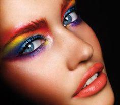 blue eyes, girl, makeup, rainbow