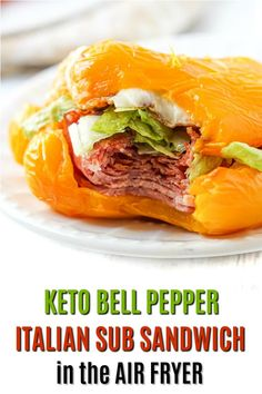 If you love the flavors of an Italian sub, check out this keto bell pepper sandwich. Using all the sub fillings and toppings but in a roasted bell pepper as the bun. Each pepper sandwich has 6.9g net carbs and you can make it in the air fryer in 15 minutes! Low Carb Lunch, Low Carb Dinner Recipes, Keto Dinner, Lunch Recipes, Healthy Recipes, Sandwich Recipes, Keto Lunch Ideas, Air Fryer Recipes Easy, Healthy Sandwiches