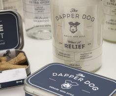 "The Dapper Dog is a brand of dog grooming products inspired by the most enthusiastic of dog owners. This line is imagined to bridge the gap between the mainstream market and higher end, luxury brands. Contrast to the more serious and sophisticated appearance are the names and product descriptions. The brand features products such as ""The Usual"" all purpose shampoo, the ""Lookin' Sharp"" collar & leash set, and ""Swanky Stuff"" pomade, for all those pompadour pooches. http://adamrrogers.com"