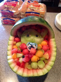 Here's my fun twist to the bassinet fruit salad popular for baby showers!  Baby Yoda graced our table for our Star Wars themed family baby shower!  Just use a Honeydew melon to create little Yoda!!