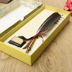 check discount new arrival antique quill feather dip pen writing ink set stationery gift box with 5 nib #stationery #box