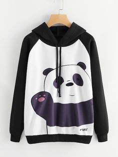 To find out about the Panda Print Raglan Sleeve Hoodie at SHEIN, part of our latest Sweatshirts ready to shop online today! Teen Fashion Outfits, Casual Outfits, Girl Outfits, Hoodie Sweatshirts, Hoodies, Jugend Mode Outfits, Vetement Fashion, Mode Streetwear, Kawaii Clothes