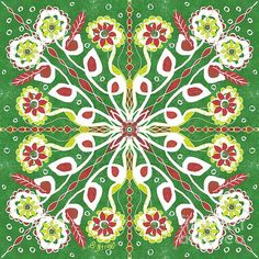 Flowers within a Flower.  #Mandala # FlowerDesign #coloursofchristmas #green #flowerart Flower Mandala, Mandala Art, Next Flowers, Flower Artists, Fine Art America, Digital Art, Instagram Images, Wall Art, Street