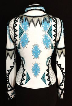 White, Black & Turquoise Jacket by Silver Lining ~ Ladies XS/Small