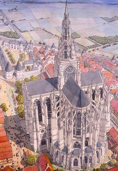 Beauvais Cathedral, France by Jean-Claude Golvin Architecture Antique, Art Et Architecture, Cathedral Architecture, Architecture Graphics, Religious Architecture, Historical Architecture, Fantasy City, Fantasy Castle, Architecture Religieuse