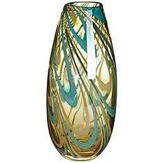 "Amber Swirl 12"" High Narrow Glass Vase"