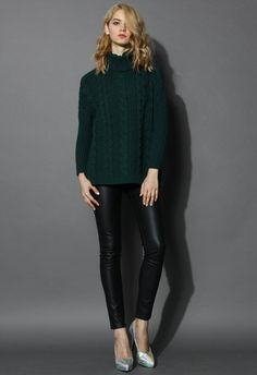 Dark Green Cable Knit Roll Neck Sweater - Retro, Indie and Unique Fashion