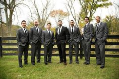 Love & Faith, wedding day, groom, groomsmen, gray suits, grey suits, black tux, tuxedo, brown shoes,