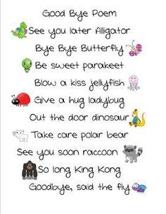 This is a cute good bye poem.