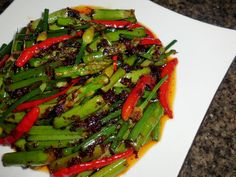 Asparagus with Chili Burmese Food, Dried Shrimp, Asparagus, Green Beans, Chili, Dressing, Drink, Vegetables, Cooking