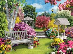 Flower Diamond Painting Kits have a huge selection of flowers like Roses, Carnations, Sunflowers, Hydrangea and many, many more. Share Pictures, Nature Pictures, Scenery Paintings, Landscape Paintings, Beautiful Flowers Garden, Beautiful Gardens, Beautiful Paintings, Beautiful Landscapes, Murals Your Way