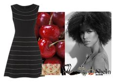 """Shein cherry"" by blueeyed-dreamer ❤ liked on Polyvore featuring contest, dress, cherry, StrawBag and shein"