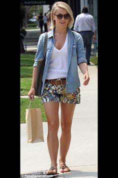 Denim shirt, shorts combo. Love her hair and sunglasses. Juliana Hough.