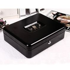 Black Metal Petty Cash Boxes Change Tray Money Holder Security Safe Mini Portable Steel Petty lock Cash Safe Box