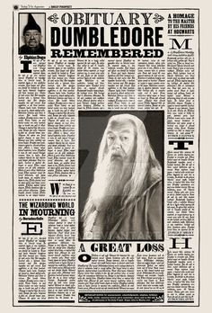 OBITUARY - Dumbledore Remembered from HP DH1 by WiwinJer on DeviantArt