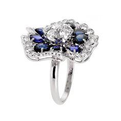 Van Cleef & Arpels Camellia Sapphire Diamond White Gold Ring