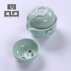 [ 37% OFF ] Tangpin Longquan Celadon Teapot Teacup Ceramic Teapot Fish Cup Ceramic Portable Travel Tea Set Gifts For New Year