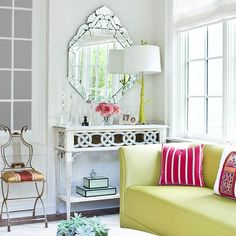 Mirrors in your sunroom add so much more light! Get more decorating tips here: http://www.bhg.com/home-improvement/porch/sunroom-decorating-and-design-ideas/?socsrc=bhgpin072114discoverthepowerofmirrors&page=12