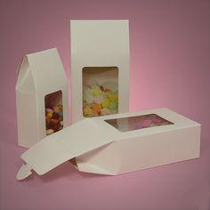 White Rectangular Window Upright Candy Boxes