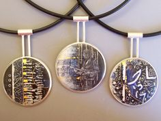 "First Snow Series - ""over field and furrow"" Enamel on copper with gold and silver cloisonne wire & gold foil / Set into silver Urban Nigh. Enamel Jewelry, Metal Jewelry, Pendant Jewelry, Jewelry Art, Jewelry Design, Jewellery, Unusual Jewelry, Modern Jewelry, Vitreous Enamel"