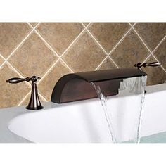 Oil-rubbed Bronze Widespread Waterfall Two Handles Bathroom Sink Faucets Best Bathroom Faucets, Cheap Bathroom Vanities, New Bathroom Ideas, Bathroom Fixtures, Redo Bathroom, Master Bathroom, Tub Faucet, Faucet Handles, Square Bathtub