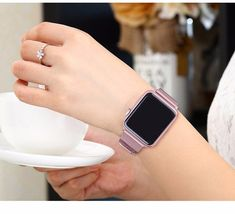 For Apple Watch Band Series Milanese Stainless Steel Apple Watch Silver Band, Apple Watch バンド, Apple Watch Bands 42mm, Apple Sport, Apple Watch Accessories, Mesh Band, Latest Gadgets, Just In Case, Watches