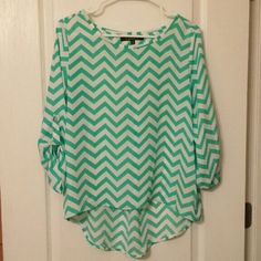 *BOGO 50% Off* Chevron Blouse Mint and white lightweight blouse Tops Blouses