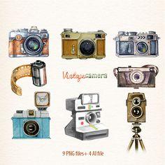 Camera, Watercolor camera, retro camera, Cameras, photocamera, film, vector clipart by DigiPPP on Etsy