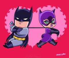 "Aw, so cute! Batman and Catwoman Chibis  ""Bat Romance"" in the Featured Artist Gallery."