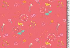 """Stoff Blumen - French Terry """"Blumenwiese"""" koralle  - ein Designerstück von Die-Stofftante bei DaWanda"""