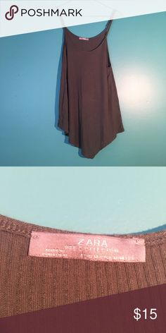 Zara Spaghetti Strap Tank Spaghetti strap tank in olive green with v-cut bottom. Perfect for going out with jeans & heels. Zara Tops Tank Tops