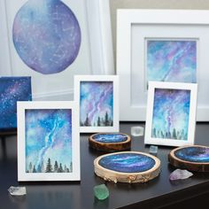 So many galaxy paintings! I forget how many I have until I put them all in a photo together. Galaxy Painting, Galaxy Art, Our Solar System, Various Artists, Milky Way, Constellations, Cosmic, Watercolor Paintings, Forget