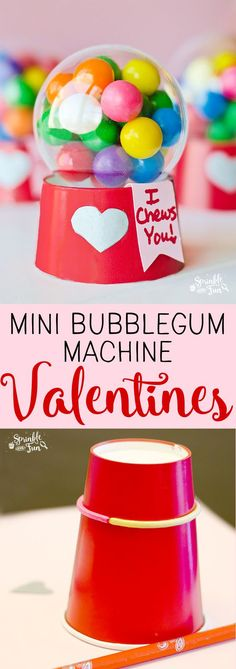 These+Mini+Bubblegum+Machine+Valentine's+are+a+super+cute+gift+for+Valentine's+Day.++Kids+love+making+and+enjoying+this+DIY+gift!++via+@sprinklesomefun Valentines Diy, Bff, Best Friends, Diy Gifts, Tableware, Ideas, Food, Favors, Bestfriends